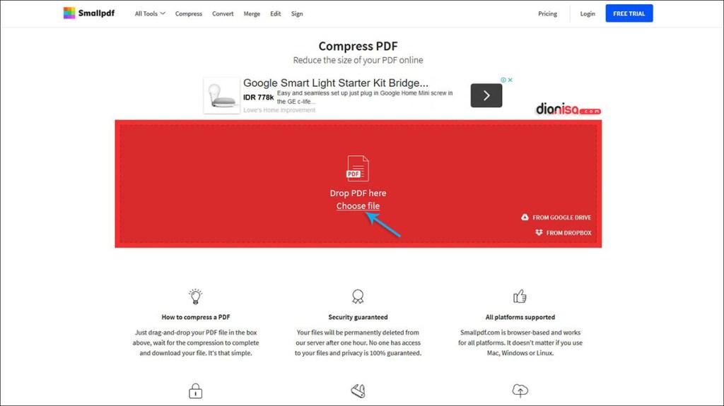 Kompres PDF dengan Smallpdf.com
