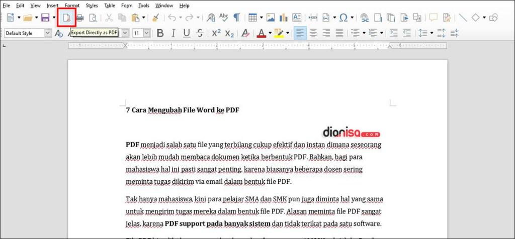 Konversi File Word ke PDF di LibreOffice
