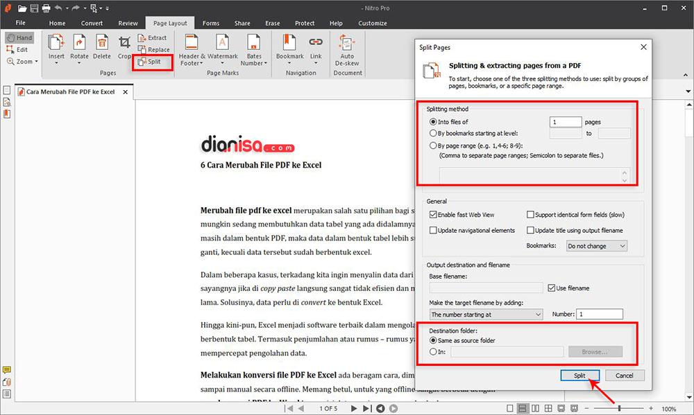 Memisahkan PDF dengan Nitro Pro Enterprise