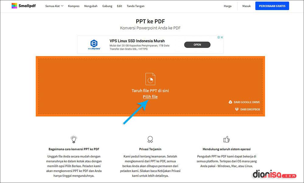 Mengubah File PPT ke PDF SmallPDF Online