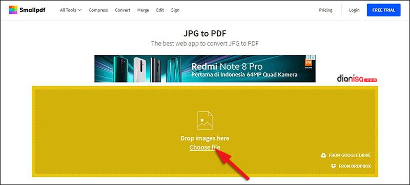 Mengubah JPG ke PDF (smallpdf)