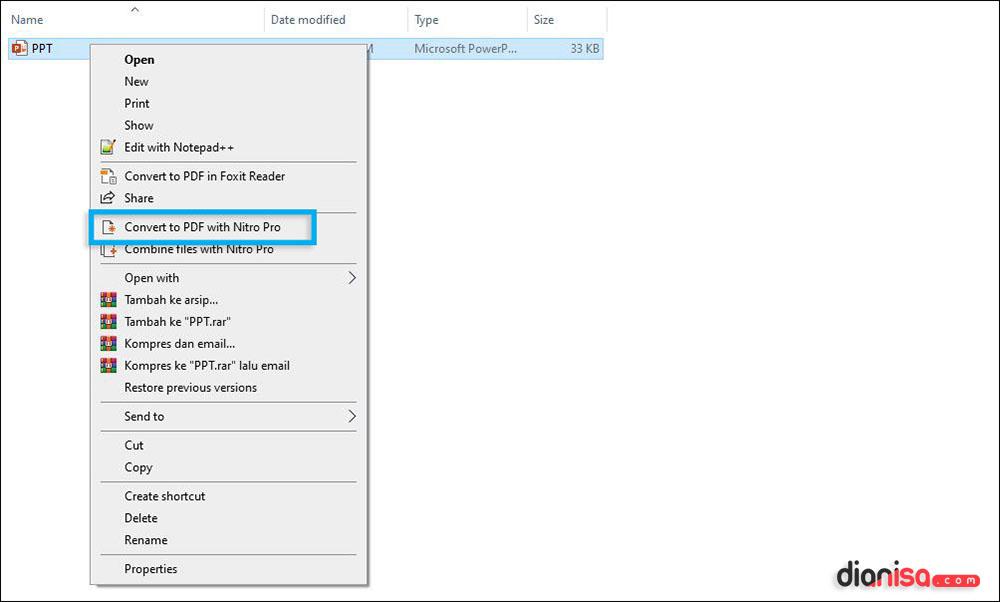 Mengubah PPT ke PDF Nitro Pro Offline