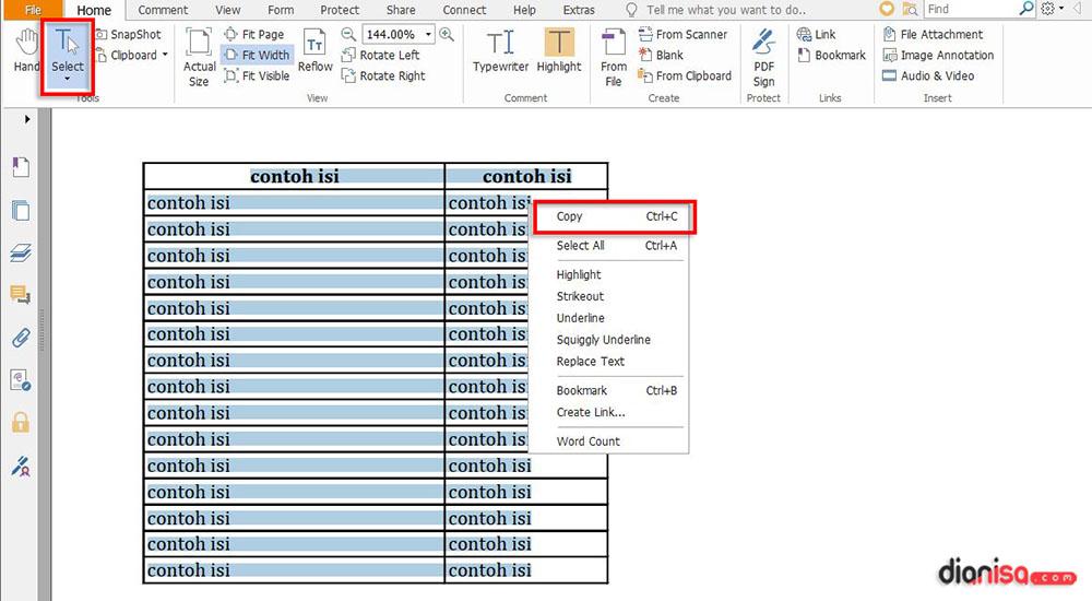 Salin Semua Text PDF Jadikan ke Excel