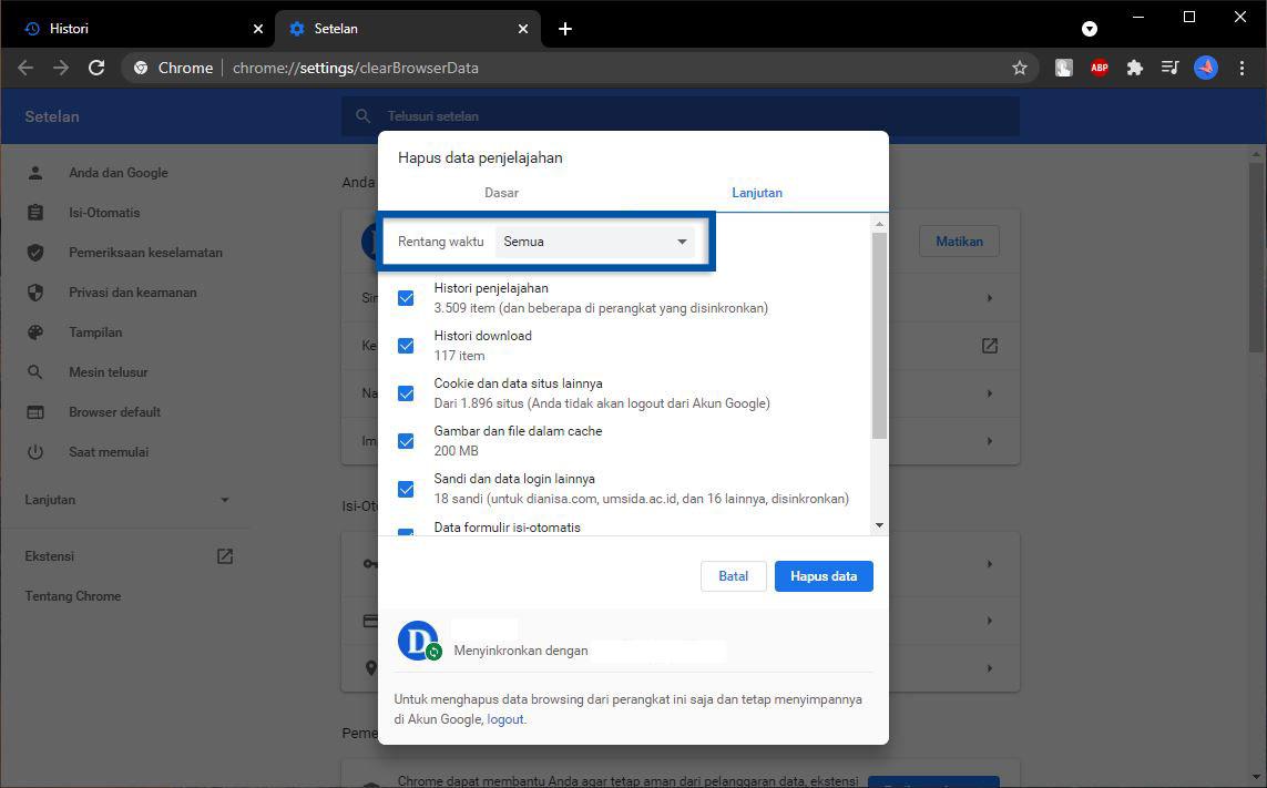Menghapus Histori Pencarian Chrome Laptop