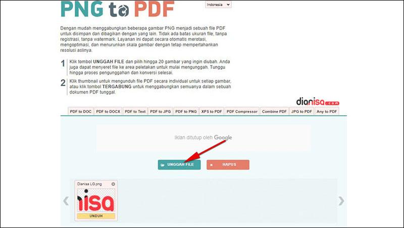 Mengubah PNG ke PDF di png2pdf