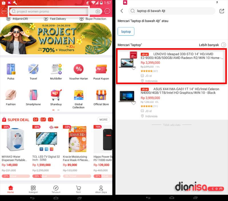 1. Cara Belanja di Aplikasi JD.ID