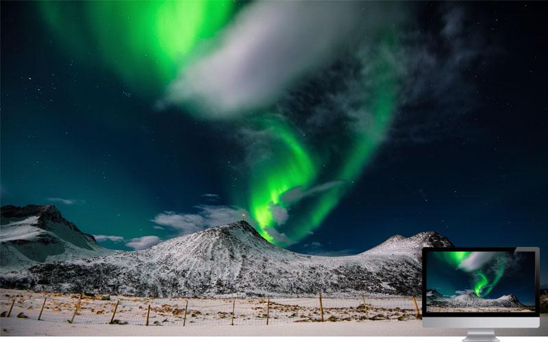 7. Aurora in Mountain