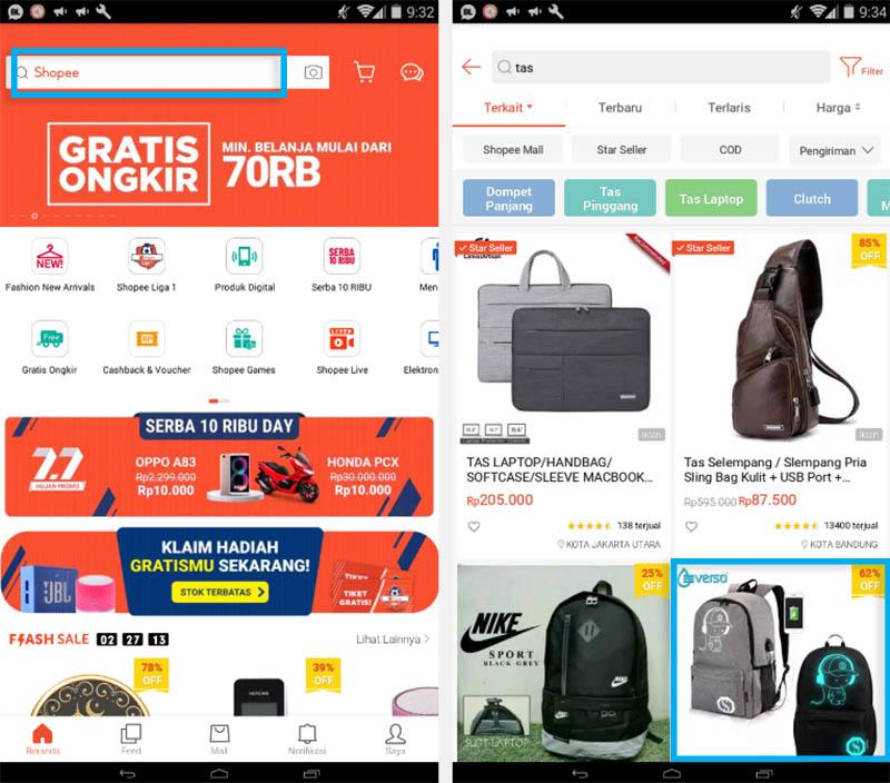 1. Belanja Barang di Shopee Lewat App