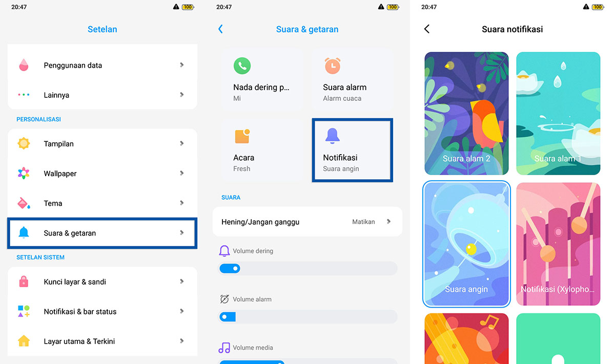 Pilih nada notifikasi Android