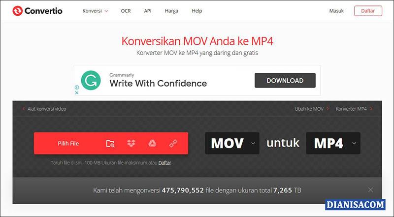 Cara Convert MOV ke MP4 Online