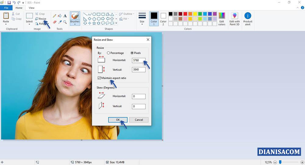 2 Mengecilkan File JPG di Paint