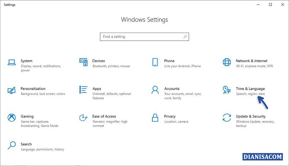 1 Mengatur Region di Windows 10