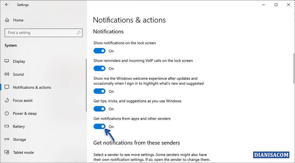 2 Matikan Semua Notifikasi Windows 10
