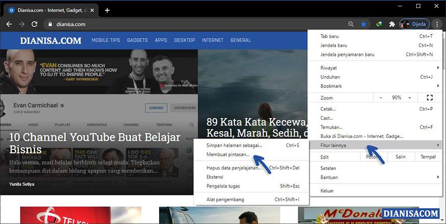 1 Membuat Shortcut Situs Web Google Chrome