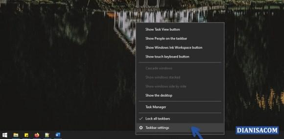1 Memilih fitur Taskbar Windows 10