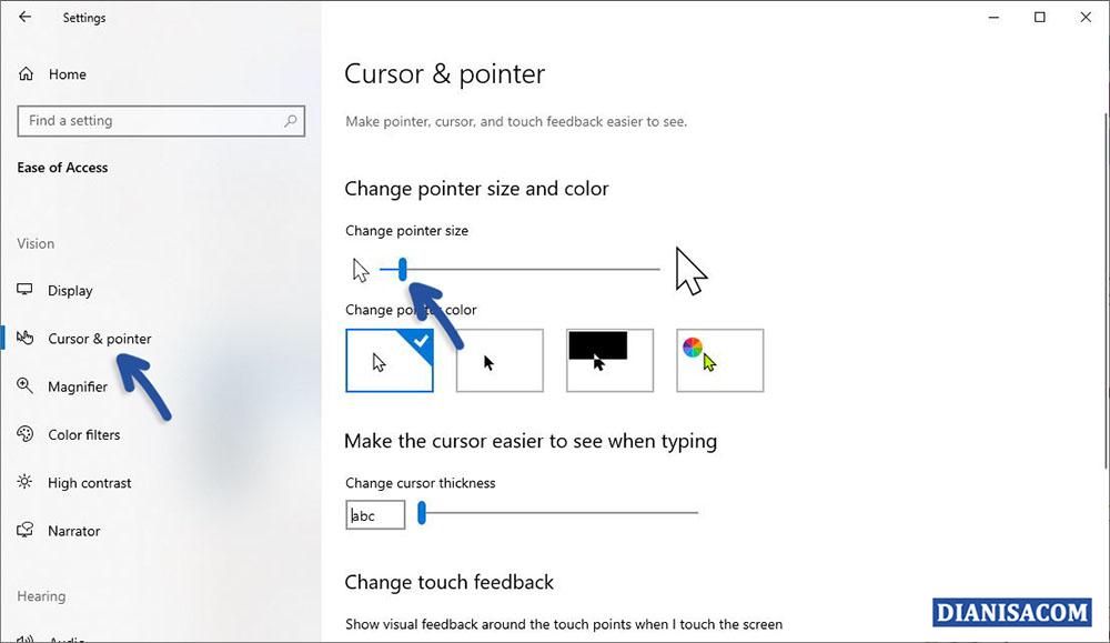 2 Mengubah ukuran Pointer Windows 10