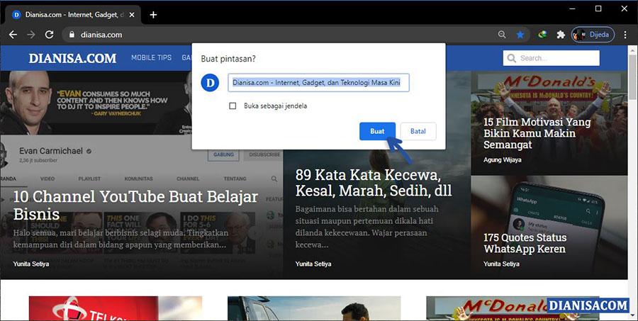 2 Menjadikan Web sebagai shortcut di desktop