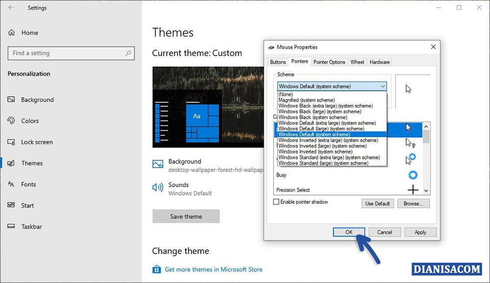 3 Memilih Efek Aero Kursor Windows 10