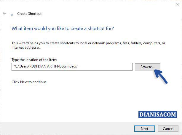 3 Memilih file yang ingin dijadikan Shortcut