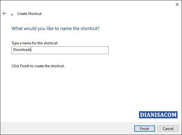 4 Memberi nama file pada shortcut