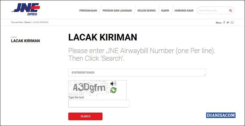 Cek Resi Lewat Website JNE