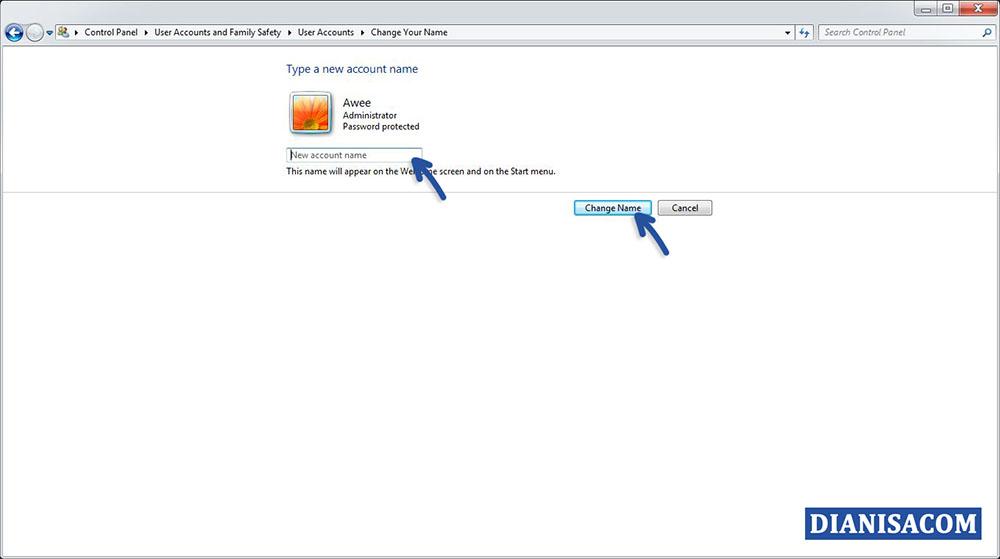 Mengganti Nama User Windows 7