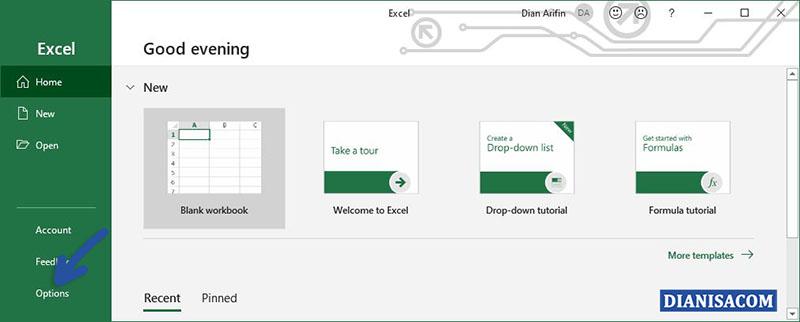 1 Klik Options Microsoft Excel