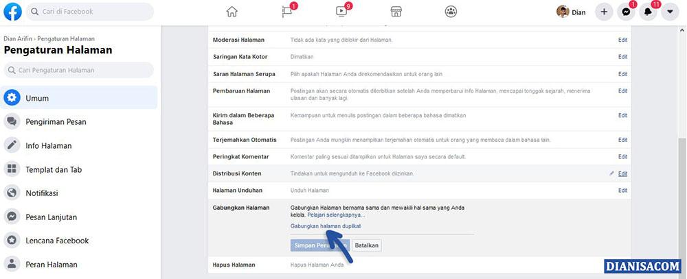 1 Menggabungkan Halaman Facebook