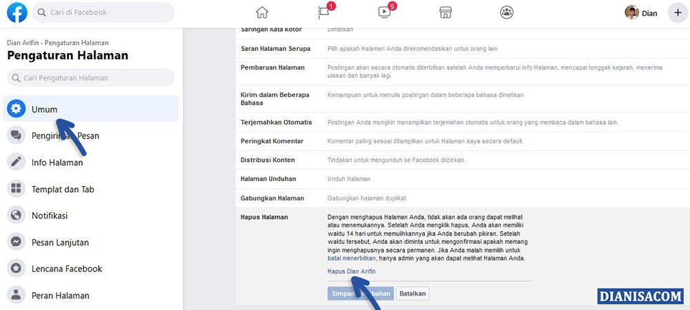 2 Hapus Halaman Facebook