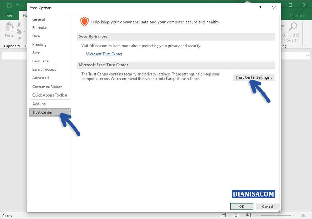 2 Klik Trust Center Settings Microsoft Excel