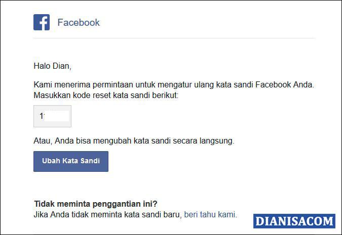 3 Dapatkan Kode Reset dari Email Facebook