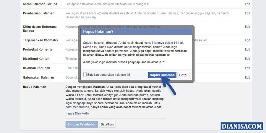 3 Konfirmasi Penghapusan Halaman Facebook