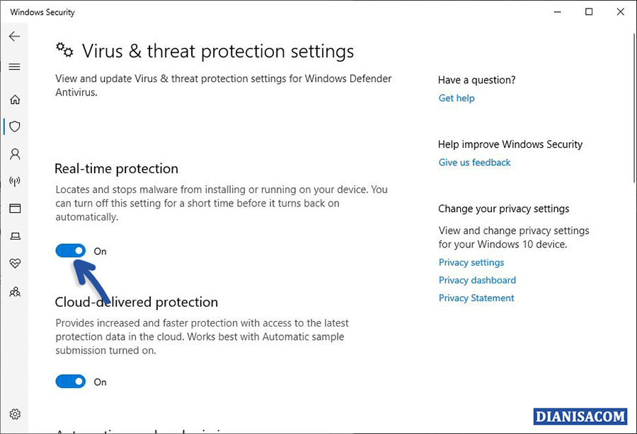 Turn Off Real-time Protection Windows