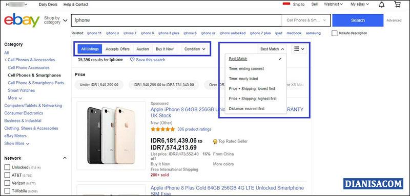Halaman Pencarian eBay