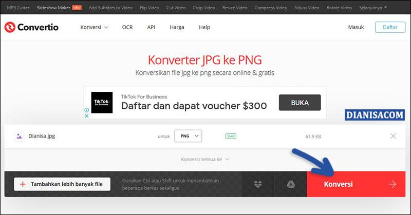 Ubah JPG ke PNG - Convertio