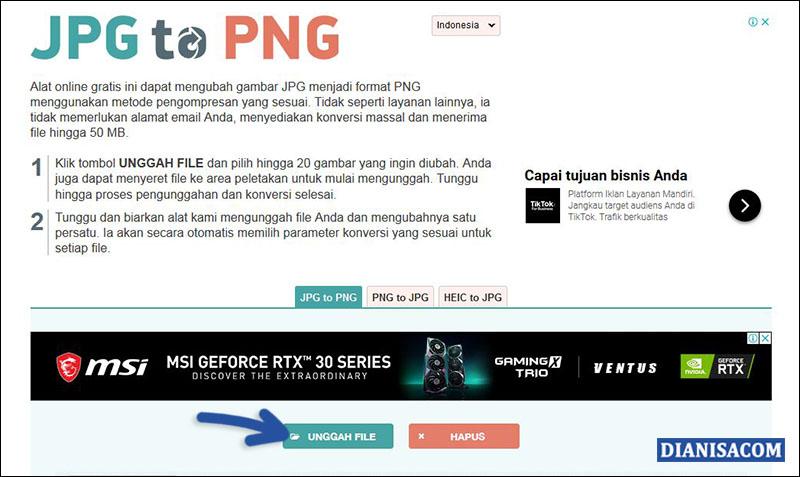 Ubah JPG ke PNG - jpg2png