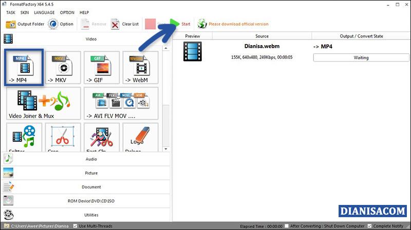 Convert WebM ke MP4 di FormatFactory