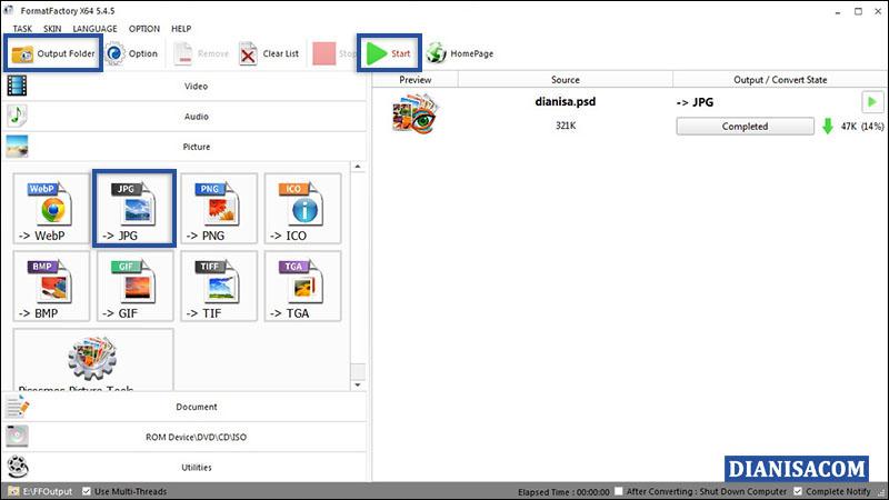 Ubah PSD ke JPG FormatFactory