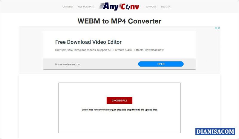 Ubah WebM ke MP4 Anyconv