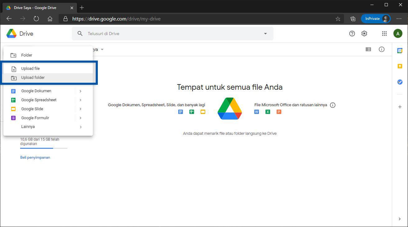 Panduan upload buat file Google Drive