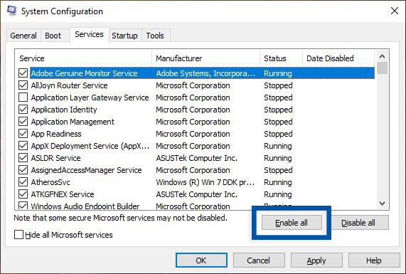 Enable all service System Configuration Windows