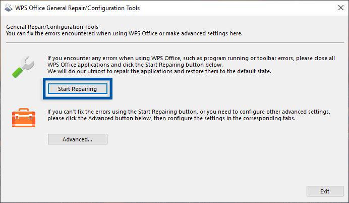 Repair WPS Office Windows