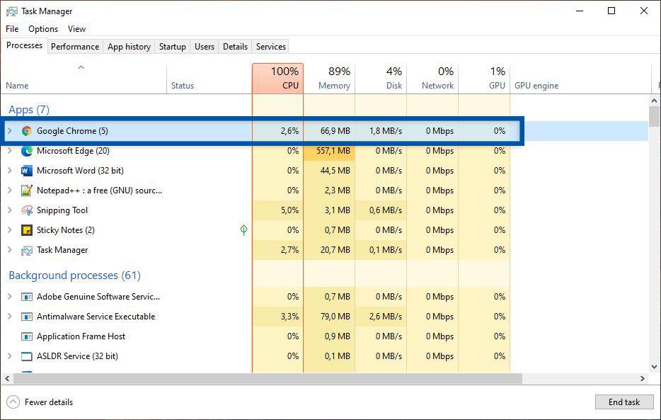 Tutup Google Chrome di Task Manager