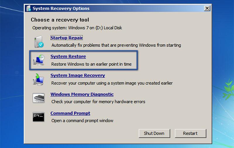 5. Menggunakan System Restore