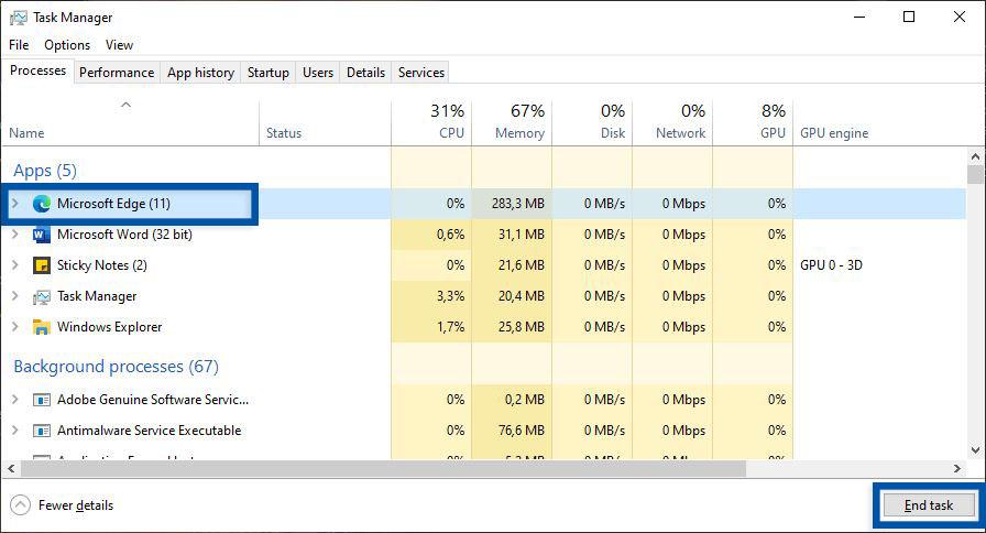 Tutup Microsoft Edge Task Manager