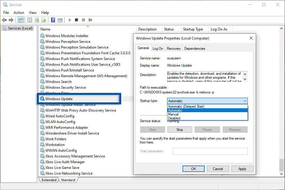 Edit Windows Update Service Windows