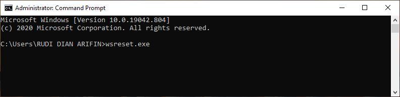 Reset Microsoft Store Melalui Command Prompt