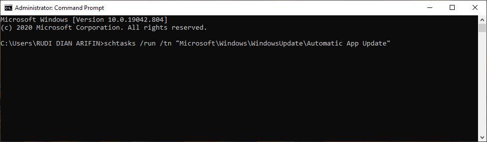 Update Aplikasi Melalui Command Prompt