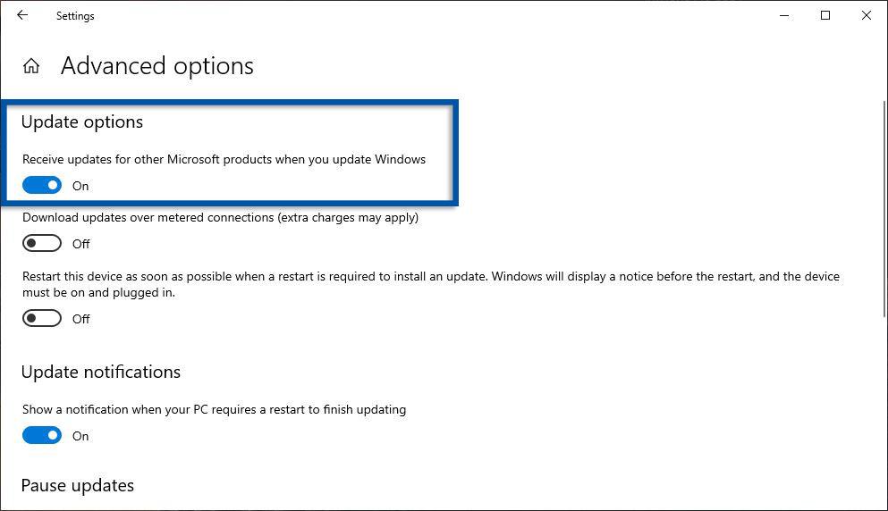 Aktifkan pembaruan Produk Microsoft