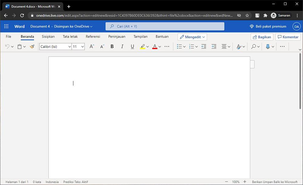 Gunakan Microsoft Word Online